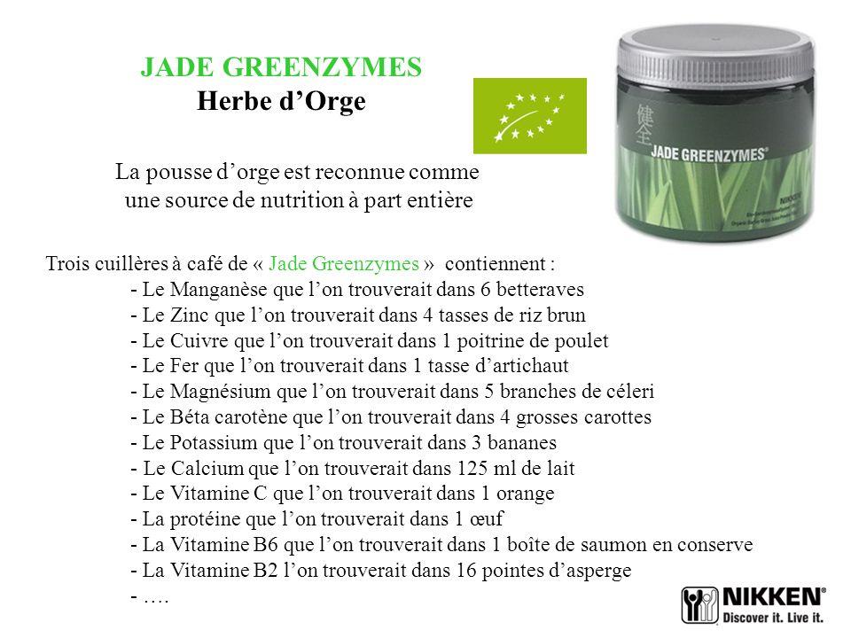 JADE GREENZYMES Herbe dOrge Elle est indiquée pour : - restaurer léquilibre acido-basique de lorganisme - renforcer les défenses corporelles grâce au