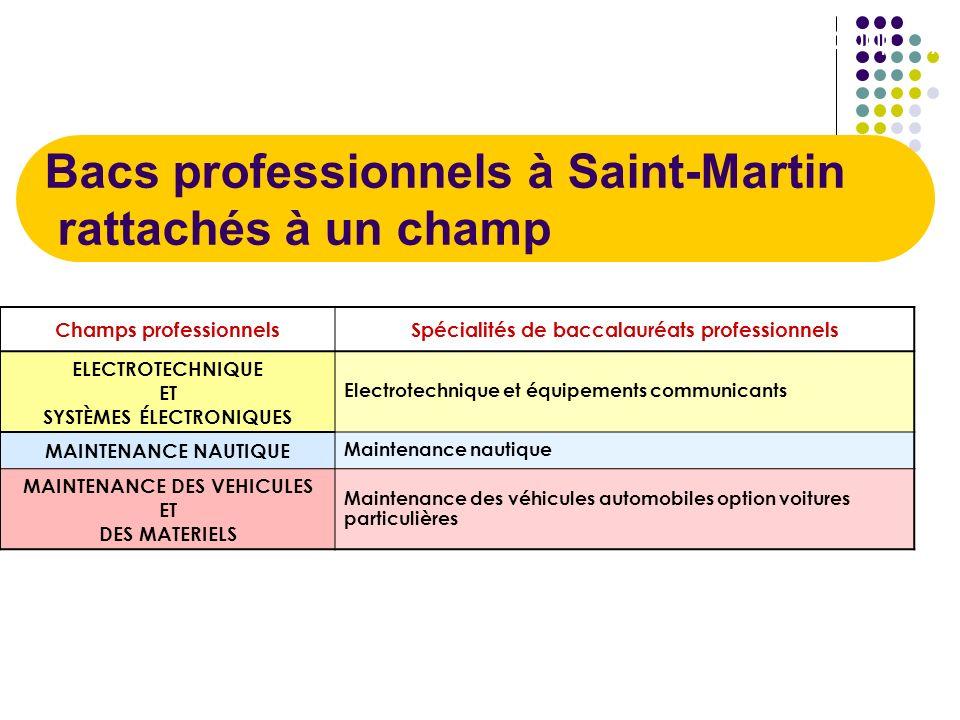 Bacs professionnels à Saint-Martin rattachés à un champ 1/1 Champs professionnelsSpécialités de baccalauréats professionnels ELECTROTECHNIQUE ET SYSTÈ