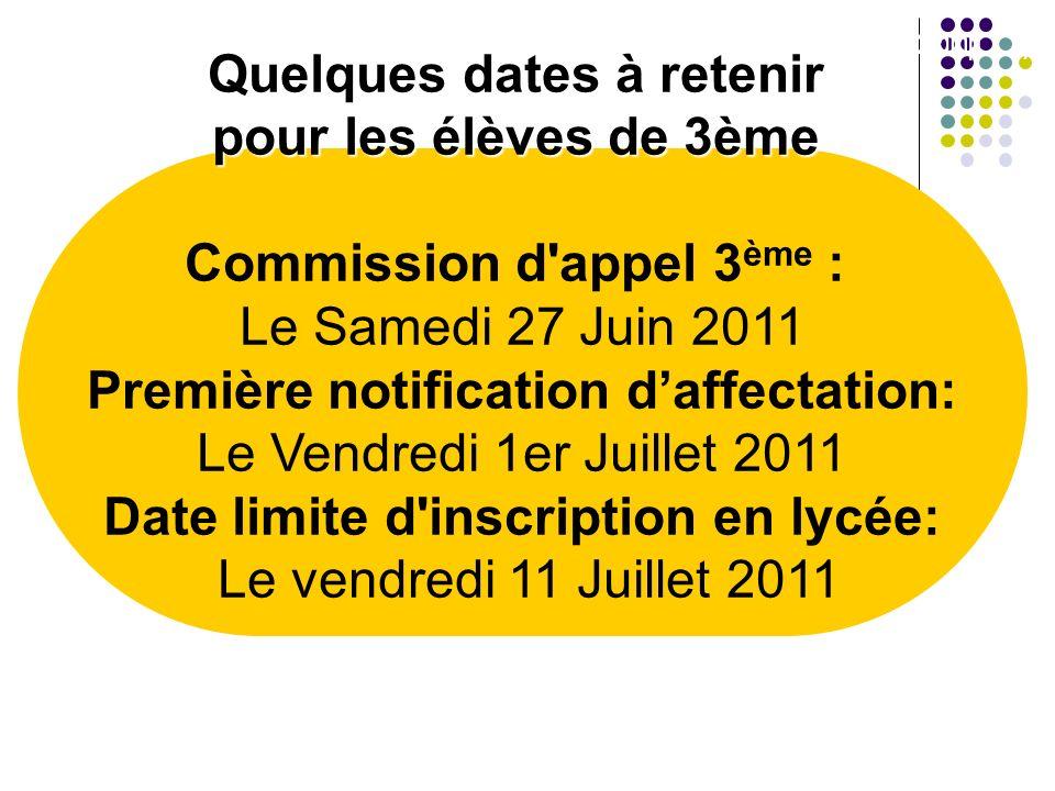 Quelques dates à retenir pour les élèves de 3ème Commission d'appel 3 ème : Le Samedi 27 Juin 2011 Première notification daffectation: Le Vendredi 1er