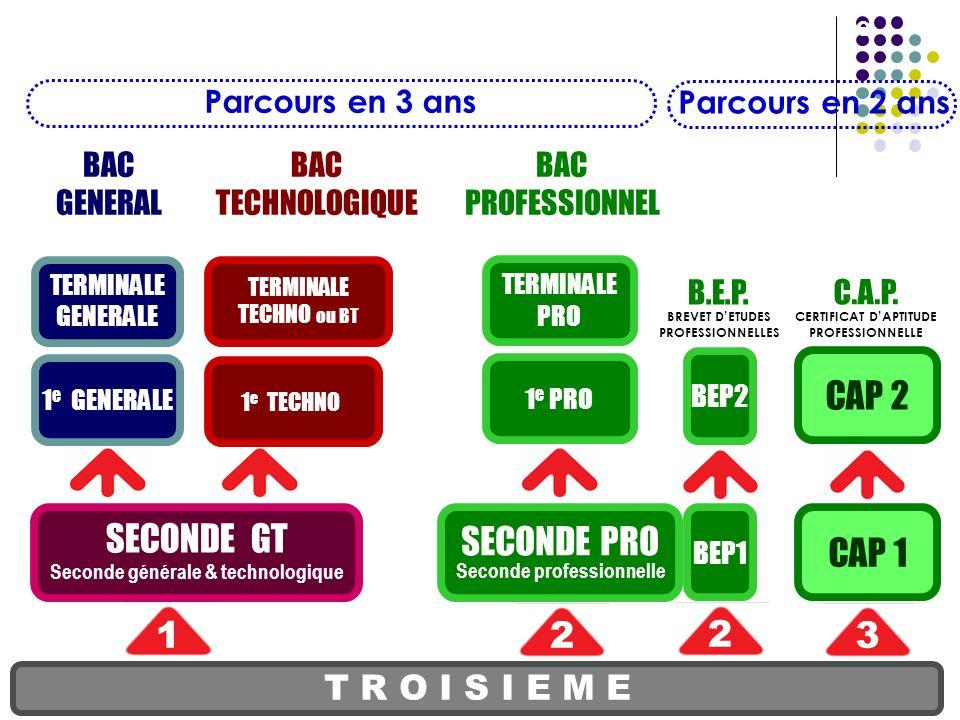 SECONDE PRO Seconde professionnelle T R O I S I E M E SECONDE GT Seconde générale & technologique 1 e PRO TERMINALE PRO BEP1 BEP2 CAP 1 CAP 2 12 2 3 B