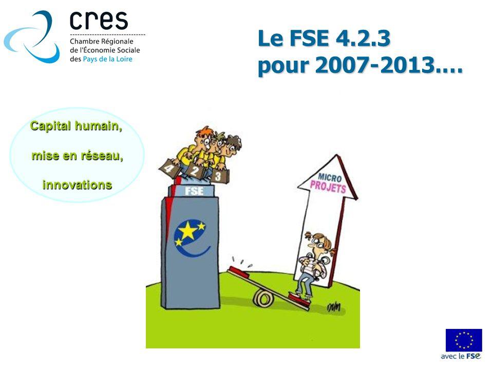 Le FSE 4.2.3 pour 2007-2013.… Capital humain, mise en réseau, innovations