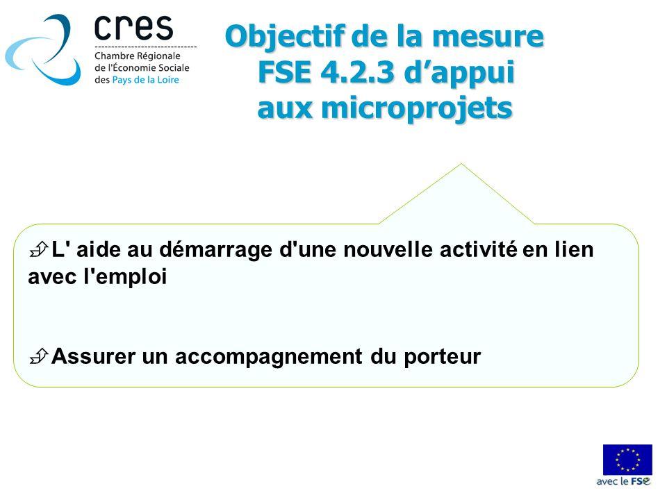 Objectif de la mesure FSE 4.2.3 dappui FSE 4.2.3 dappui aux microprojets L' aide au démarrage d'une nouvelle activité en lien avec l'emploi Assurer un