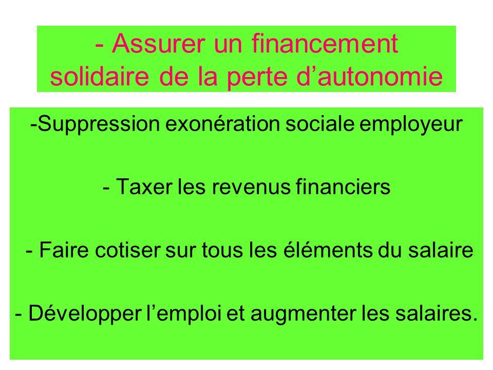- Assurer un financement solidaire de la perte dautonomie -Suppression exonération sociale employeur - Taxer les revenus financiers - Faire cotiser su