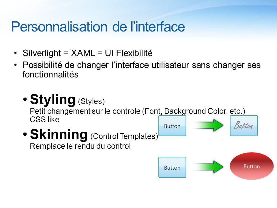 Personnalisation de linterface Silverlight = XAML = UI Flexibilité Possibilité de changer linterface utilisateur sans changer ses fonctionnalités Styl