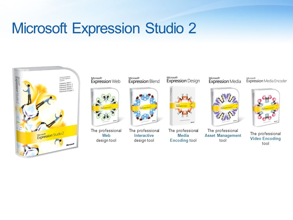 Microsoft Expression Studio 2 The professional Web design tool The professional Interactive design tool The professional Media Encoding tool The professional Asset Management tool The professional Video Encoding tool