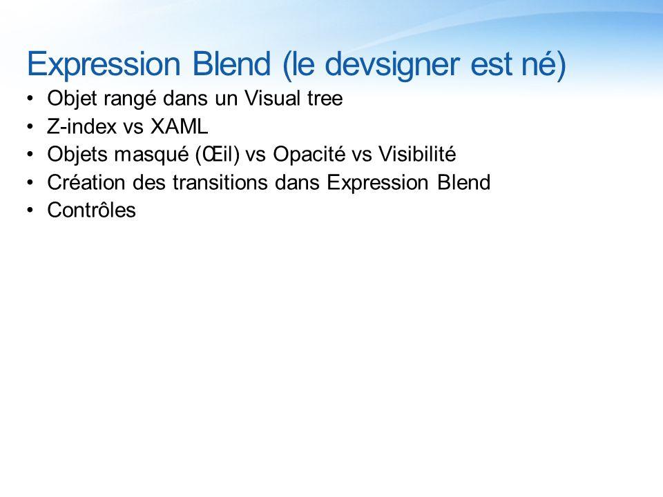 Expression Blend (le devsigner est né) Objet rangé dans un Visual tree Z-index vs XAML Objets masqué (Œil) vs Opacité vs Visibilité Création des trans