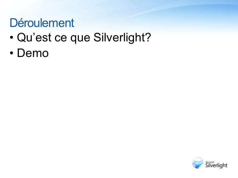 Déroulement Quest ce que Silverlight? Demo