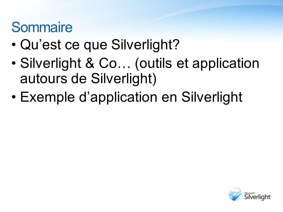 Sommaire Quest ce que Silverlight? Silverlight & Co… (outils et application autours de Silverlight) Exemple dapplication en Silverlight