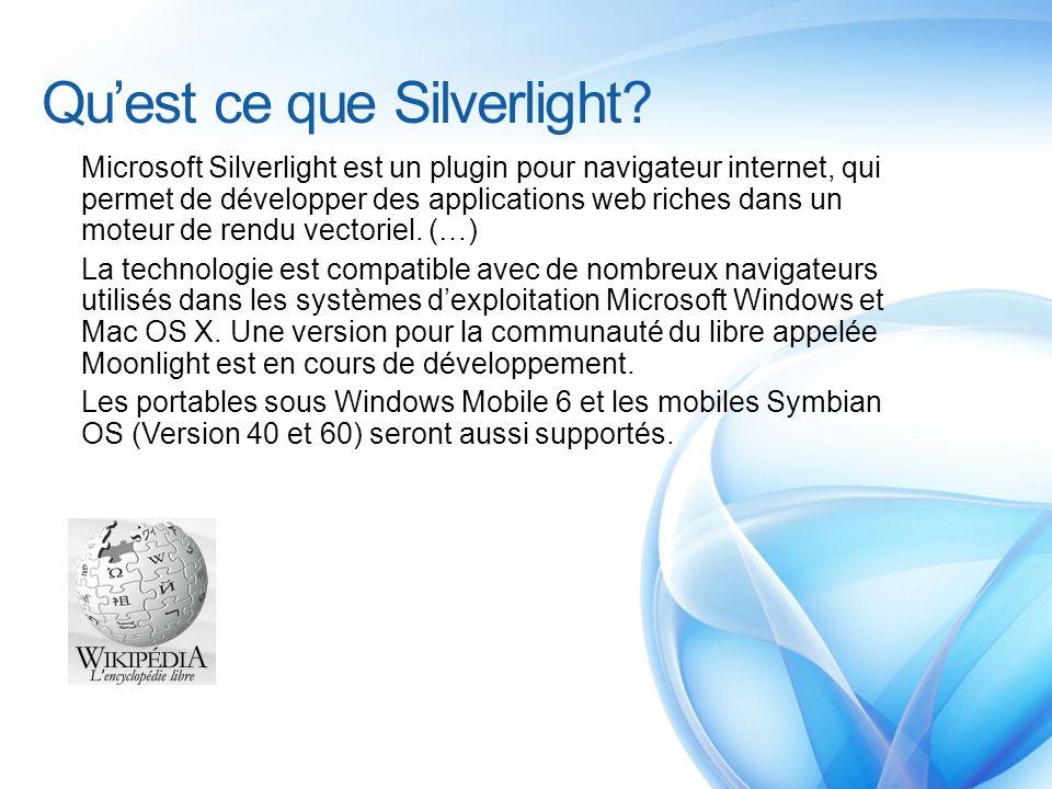 Silverlight 1.0 Graphique 2D Animation Input (souris, clavier,…) Media (WMV, WMA, MP3) Image (JPEG, PNG) Text HTTP Downloader XAML Parser JavaScript DOM