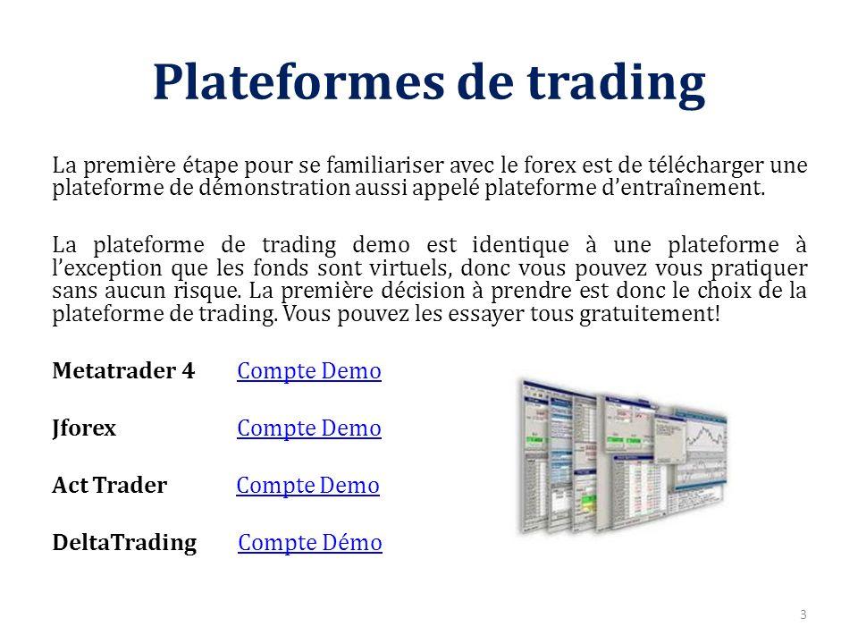 Plateformes de trading La première étape pour se familiariser avec le forex est de télécharger une plateforme de démonstration aussi appelé plateforme