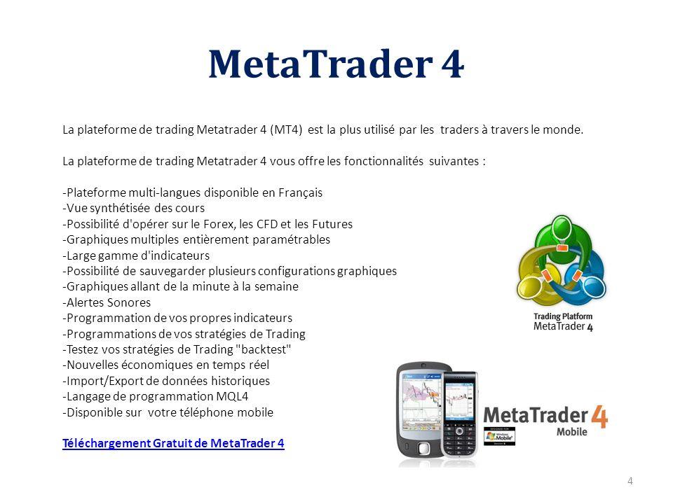 MetaTrader 4 4 La plateforme de trading Metatrader 4 (MT4) est la plus utilisé par les traders à travers le monde. La plateforme de trading Metatrader