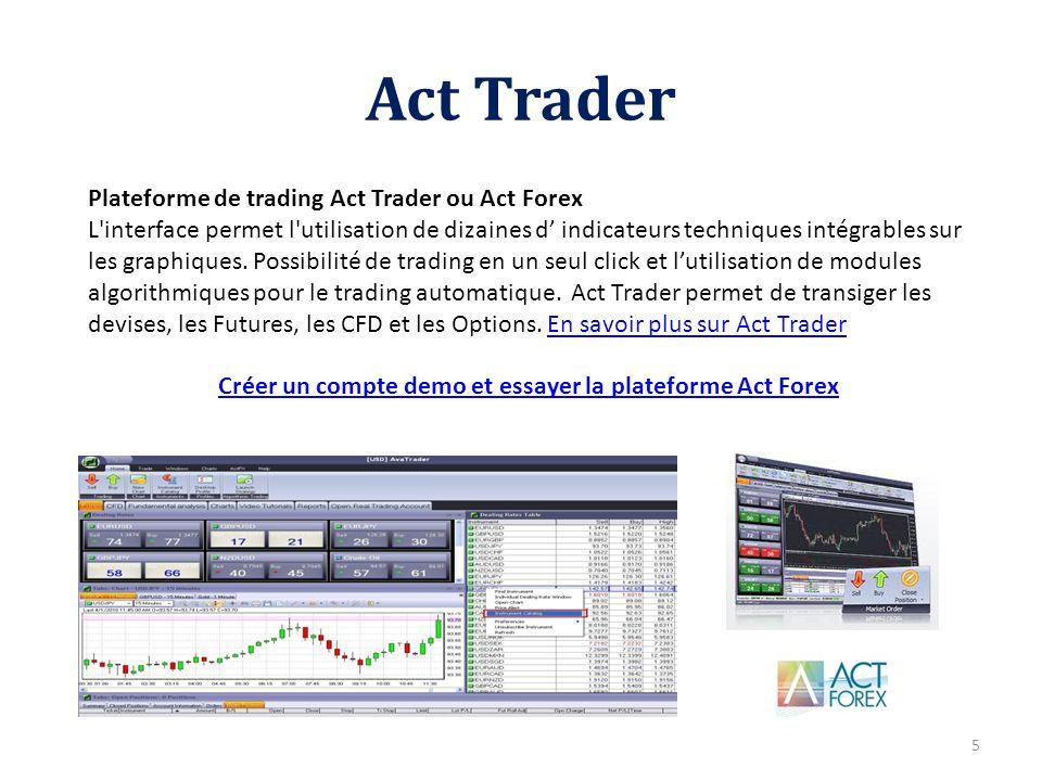 Act Trader 5 Plateforme de trading Act Trader ou Act Forex L'interface permet l'utilisation de dizaines d indicateurs techniques intégrables sur les g