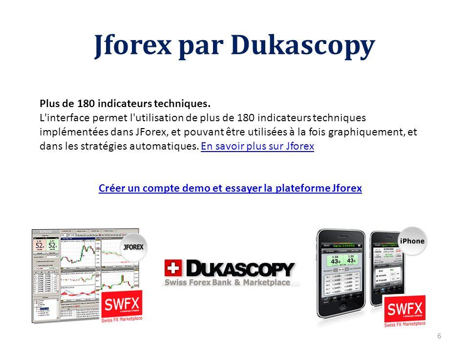 Jforex par Dukascopy Plus de 180 indicateurs techniques. L'interface permet l'utilisation de plus de 180 indicateurs techniques implémentées dans JFor