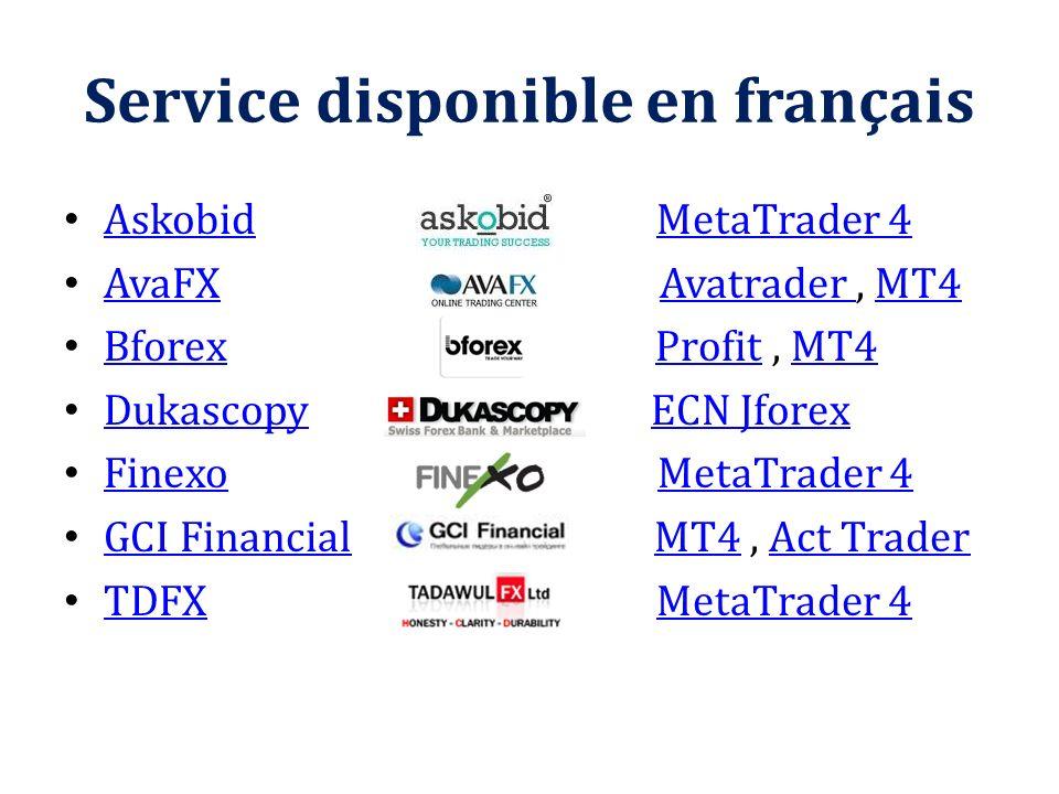 Service disponible en français Askobid MetaTrader 4 AskobidMetaTrader 4 AvaFX Avatrader, MT4 AvaFXAvatrader MT4 Bforex Profit, MT4 BforexProfitMT4 Duk
