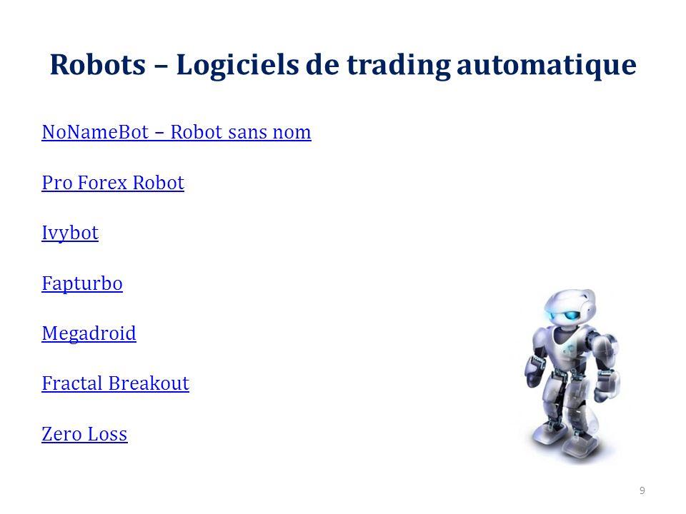 Robots – Logiciels de trading automatique NoNameBot – Robot sans nom Pro Forex Robot Ivybot Fapturbo Megadroid Fractal Breakout Zero Loss 9