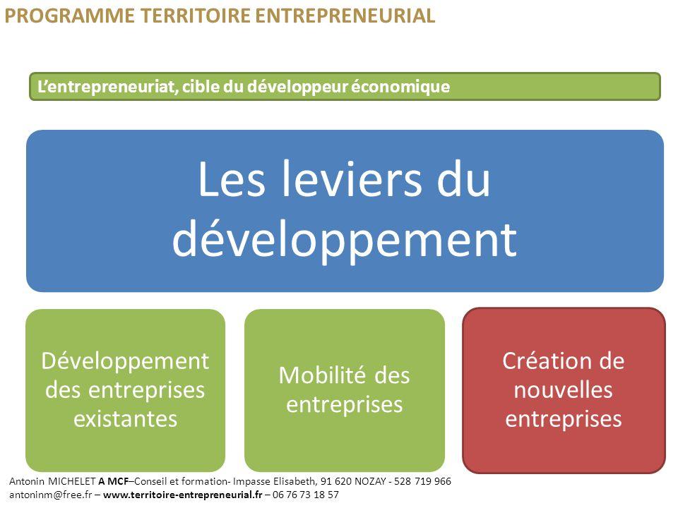 PROGRAMME TERRITOIRE ENTREPRENEURIAL Les leviers du développement Développement des entreprises existantes Mobilité des entreprises Création de nouvel