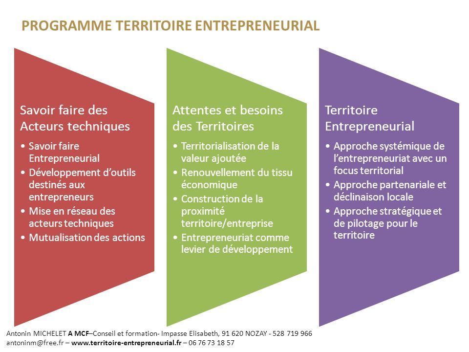 PROGRAMME TERRITOIRE ENTREPRENEURIAL Entrepreneurship [is] a responding agency.