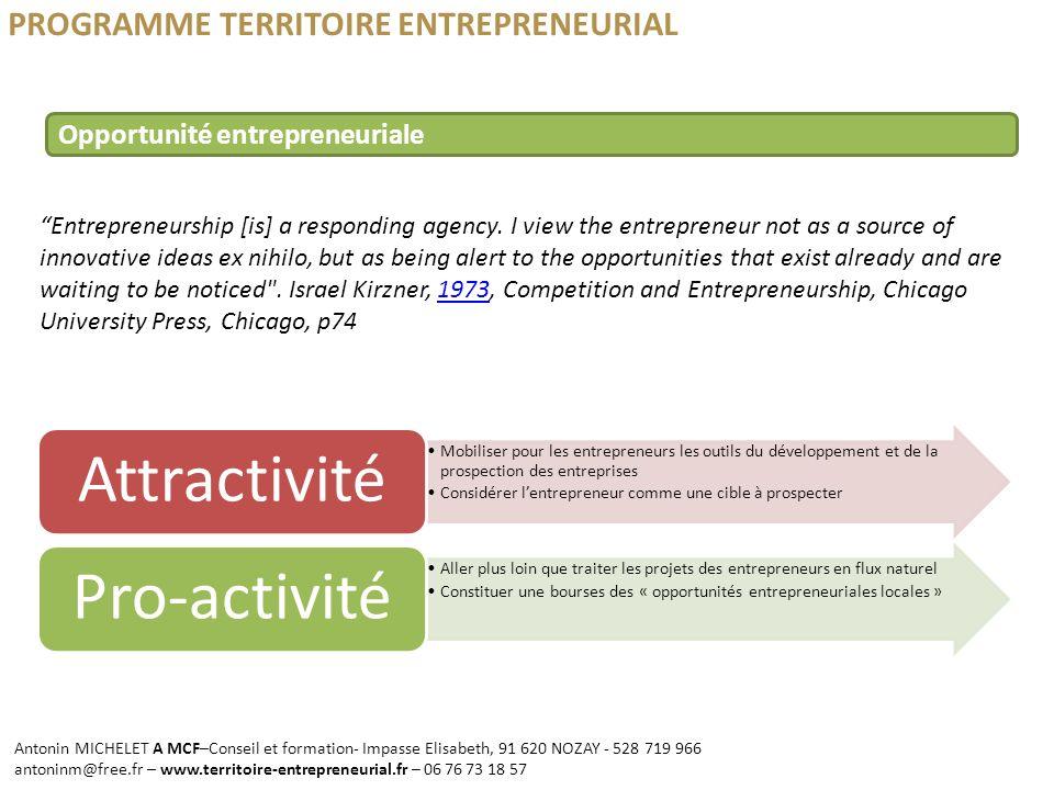 PROGRAMME TERRITOIRE ENTREPRENEURIAL Entrepreneurship [is] a responding agency. I view the entrepreneur not as a source of innovative ideas ex nihilo,