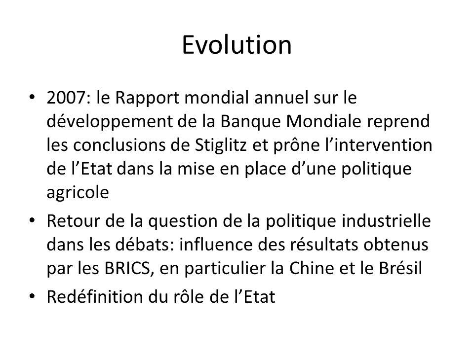 Evolution 2007: le Rapport mondial annuel sur le développement de la Banque Mondiale reprend les conclusions de Stiglitz et prône lintervention de lEtat dans la mise en place dune politique agricole Retour de la question de la politique industrielle dans les débats: influence des résultats obtenus par les BRICS, en particulier la Chine et le Brésil Redéfinition du rôle de lEtat