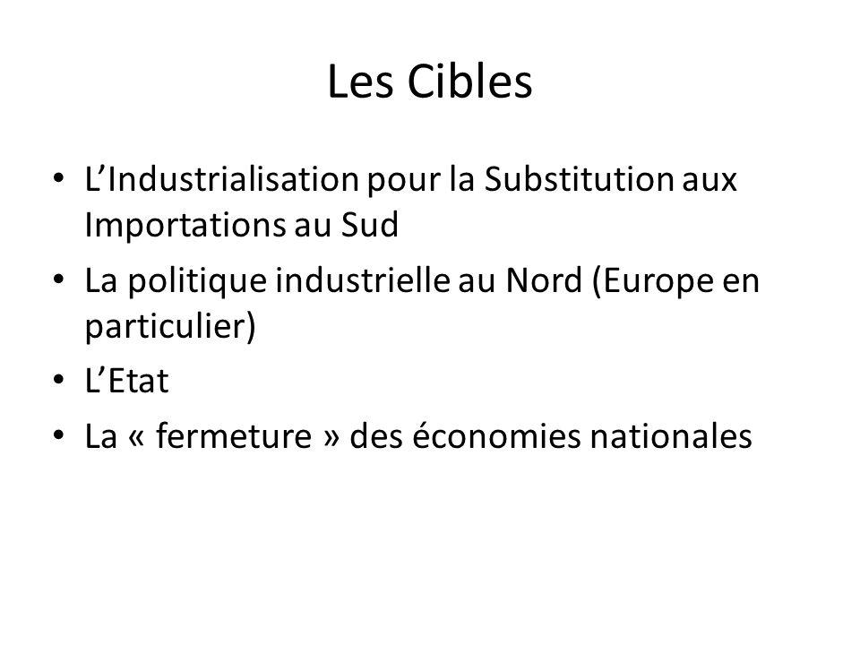 Les Cibles LIndustrialisation pour la Substitution aux Importations au Sud La politique industrielle au Nord (Europe en particulier) LEtat La « fermeture » des économies nationales