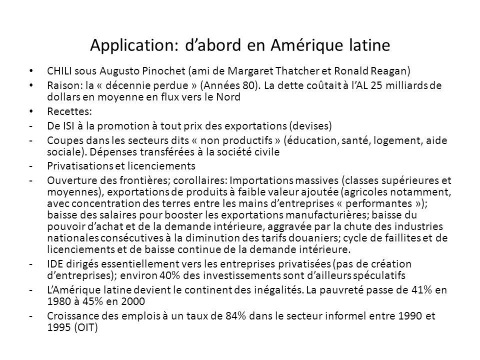 Application: dabord en Amérique latine CHILI sous Augusto Pinochet (ami de Margaret Thatcher et Ronald Reagan) Raison: la « décennie perdue » (Années 80).