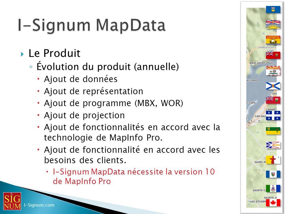 Le Produit Évolution du produit (annuelle) Ajout de données Ajout de représentation Ajout de programme (MBX, WOR) Ajout de projection Ajout de fonctio