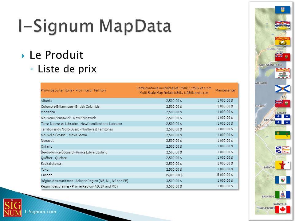 Le Produit Liste de prix I-Signum.com
