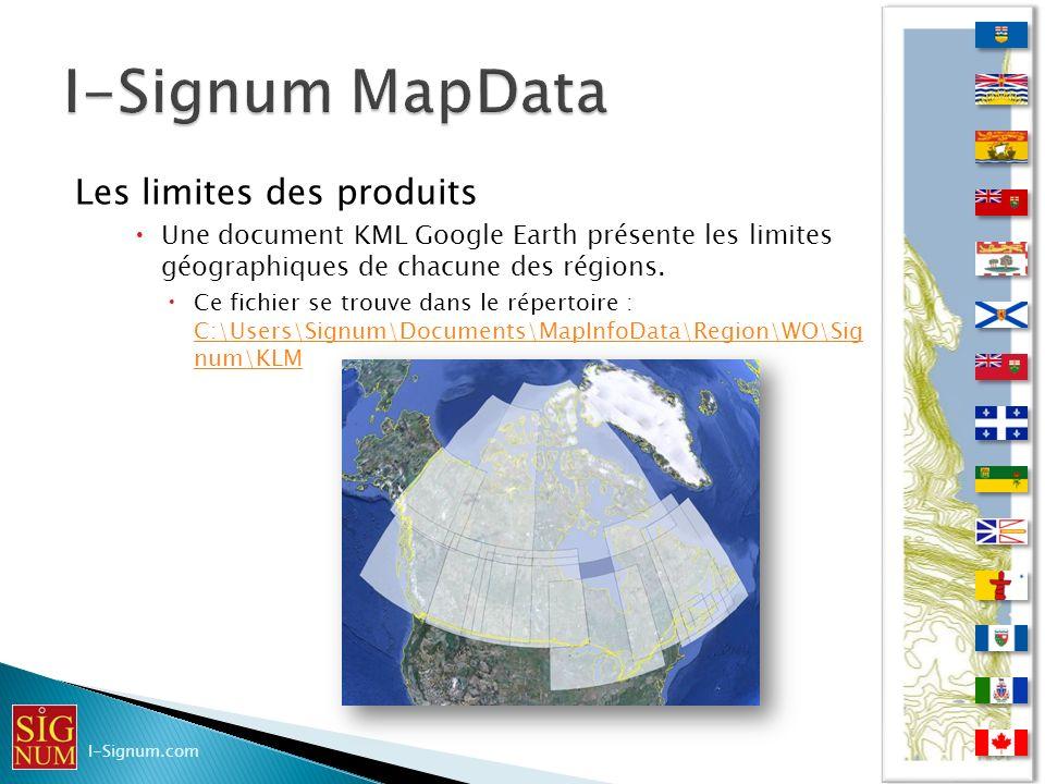 Les limites des produits Une document KML Google Earth présente les limites géographiques de chacune des régions. Ce fichier se trouve dans le réperto