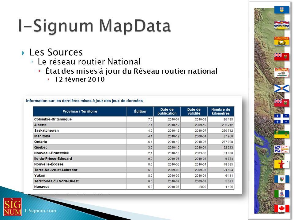 Les Sources Le réseau routier National État des mises à jour du Réseau routier national 12 février 2010 I-Signum.com