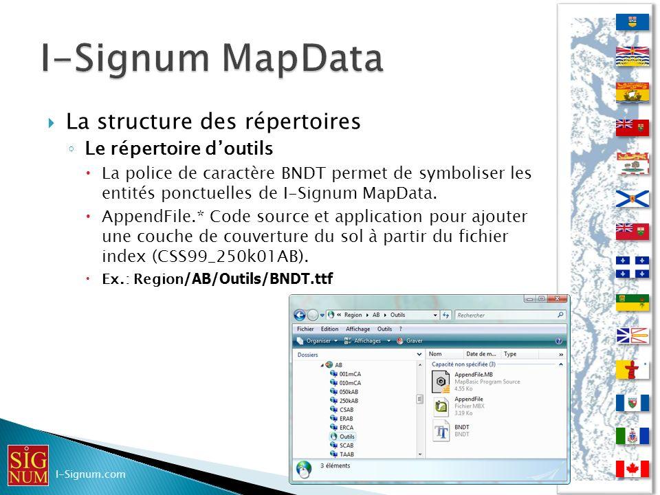 La structure des répertoires Le répertoire doutils La police de caractère BNDT permet de symboliser les entités ponctuelles de I-Signum MapData. Appen