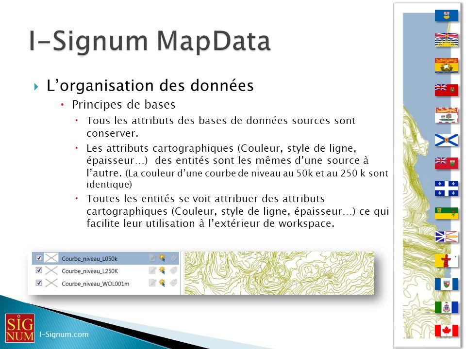 Lorganisation des données Principes de bases Tous les attributs des bases de données sources sont conserver. Les attributs cartographiques (Couleur, s