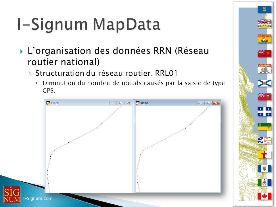 Lorganisation des données RRN (Réseau routier national) Structuration du réseau routier. RRL01 Diminution du nombre de nœuds causés par la saisie de t