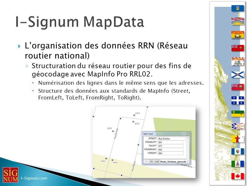 Lorganisation des données RRN (Réseau routier national) Structuration du réseau routier pour des fins de géocodage avec MapInfo Pro RRL02. Numérisatio