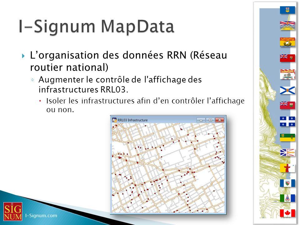 Lorganisation des données RRN (Réseau routier national) Augmenter le contrôle de l'affichage des infrastructures RRL03. Isoler les infrastructures afi