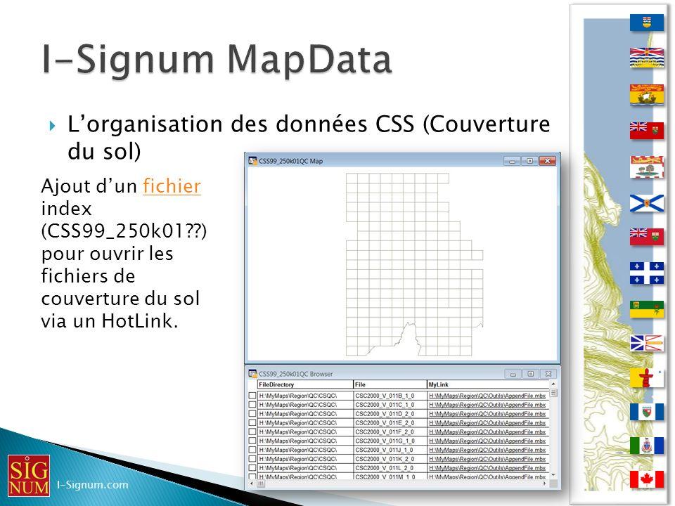 Lorganisation des données CSS (Couverture du sol) Lorganisation des données CSS (Couverture du sol) I-Signum.com Ajout dun fichier index (CSS99_250k01