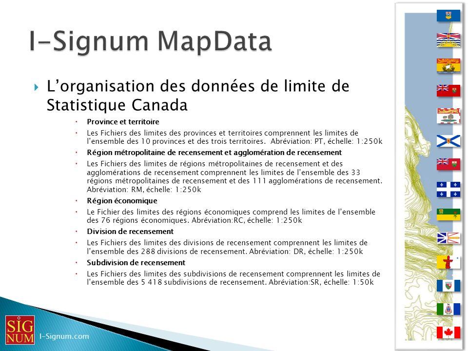 Lorganisation des données de limite de Statistique Canada Lorganisation des données de limite de Statistique Canada Province et territoire Les Fichier