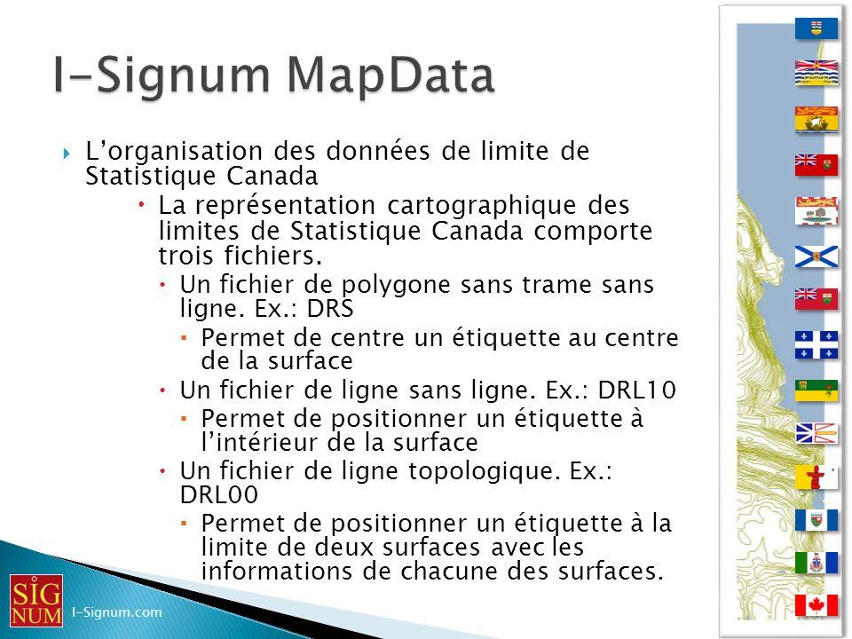 Lorganisation des données de limite de Statistique Canada Lorganisation des données de limite de Statistique Canada La représentation cartographique d