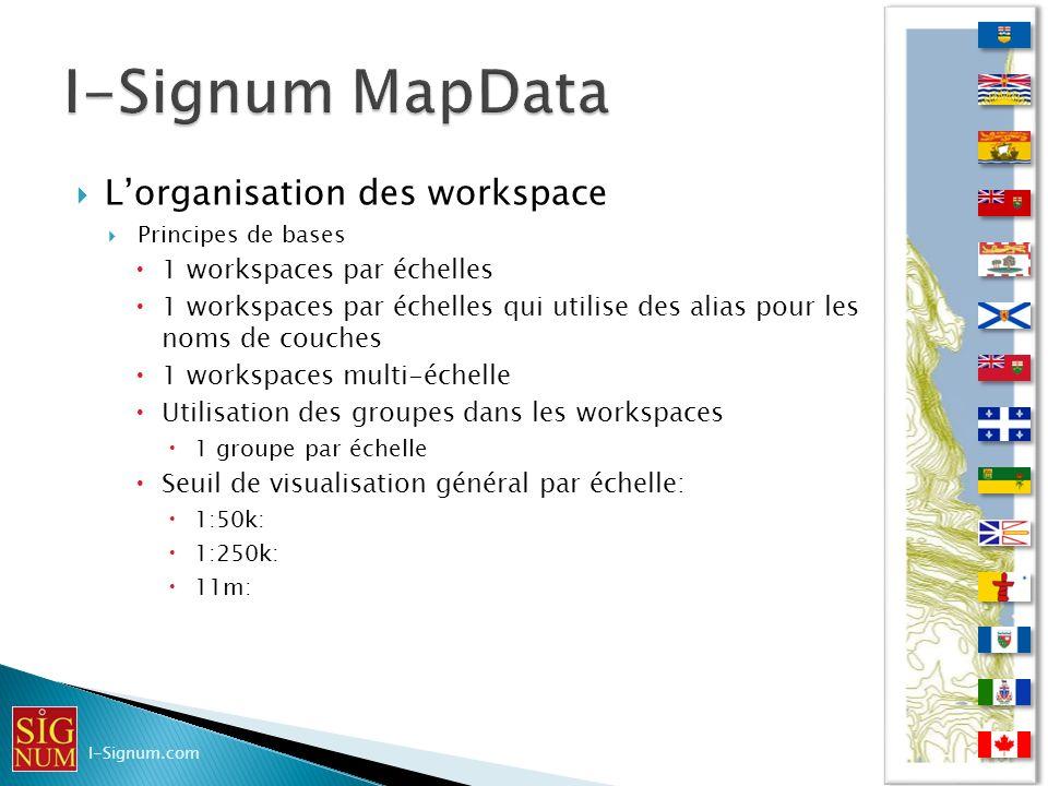 Lorganisation des workspace Principes de bases 1 workspaces par échelles 1 workspaces par échelles qui utilise des alias pour les noms de couches 1 wo