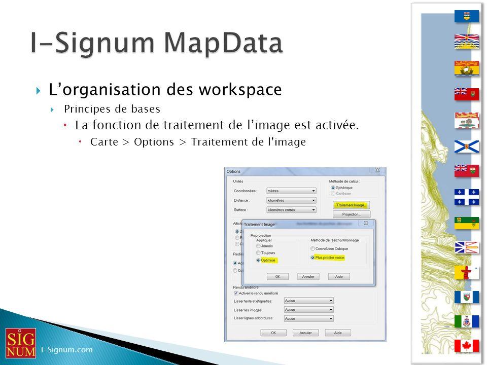 Lorganisation des workspace Principes de bases La fonction de traitement de limage est activée. Carte > Options > Traitement de limage I-Signum.com