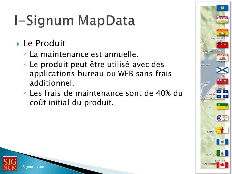 Le Produit Évolution du produit (annuelle) Ajout de données Ajout de représentation Ajout de programme (MBX, WOR) Ajout de projection Ajout de fonctionnalités en accord avec la technologie de MapInfo Pro.