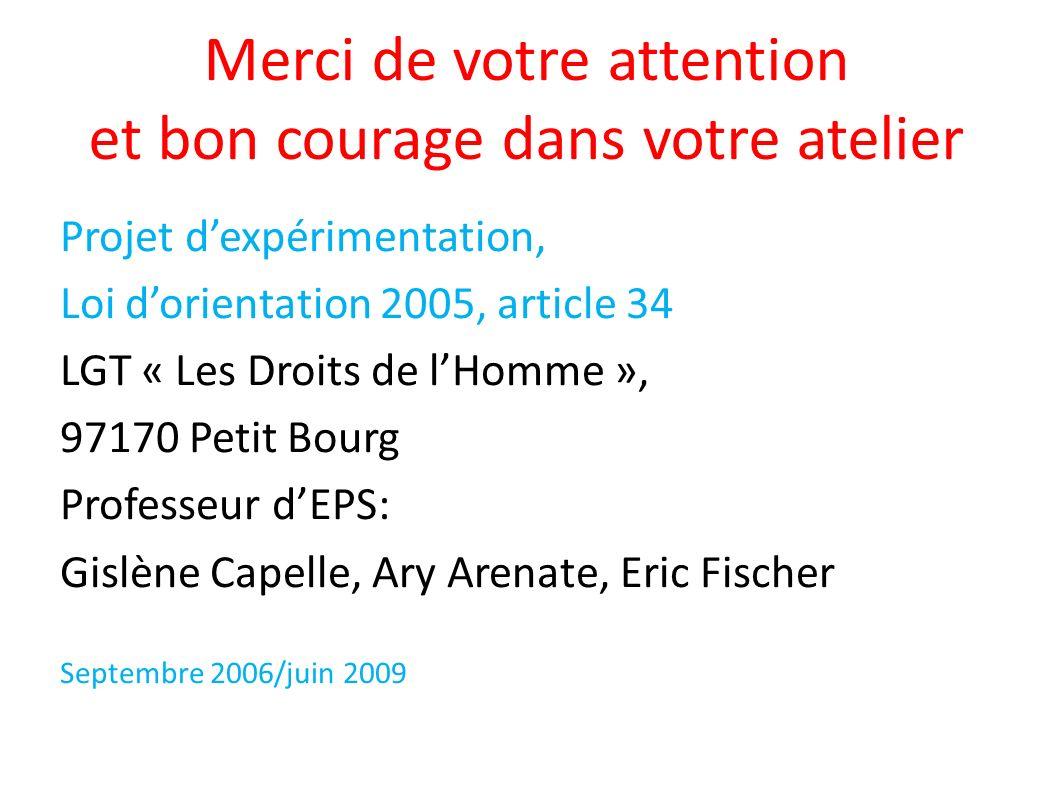 Merci de votre attention et bon courage dans votre atelier Projet dexpérimentation, Loi dorientation 2005, article 34 LGT « Les Droits de lHomme », 97