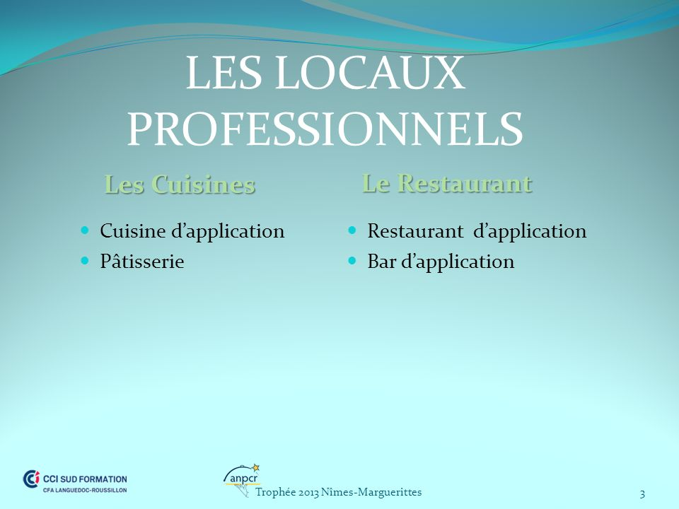 LES LOCAUX PROFESSIONNELS Les Cuisines Le Restaurant Cuisine dapplication Pâtisserie Restaurant dapplication Bar dapplication 3Trophée 2013 Nîmes-Marg