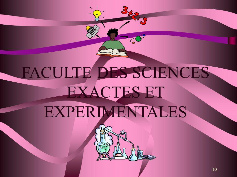 10 FACULTE DES SCIENCES EXACTES ET EXPERIMENTALES