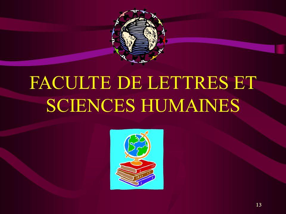 13 FACULTE DE LETTRES ET SCIENCES HUMAINES