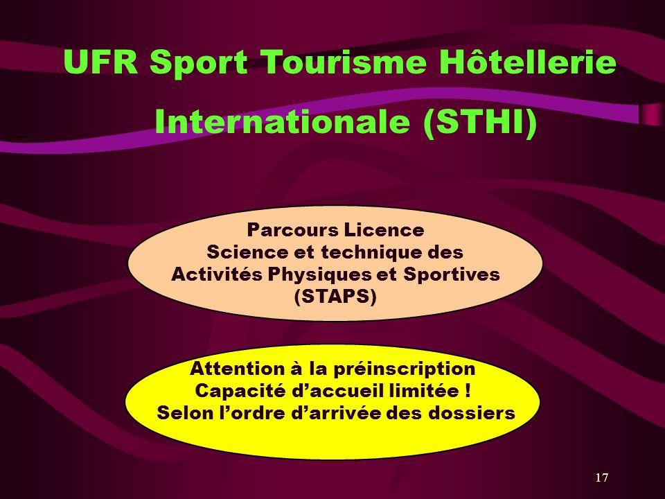 17 UFR Sport Tourisme Hôtellerie Internationale (STHI) Parcours Licence Science et technique des Activités Physiques et Sportives (STAPS) Attention à