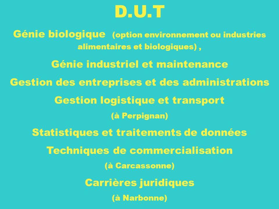 27 D.U.T Génie biologique (option environnement ou industries alimentaires et biologiques), Génie industriel et maintenance Gestion des entreprises et