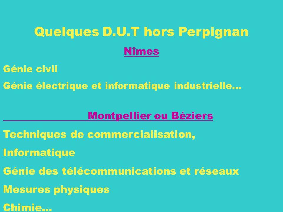 28 Quelques D.U.T hors Perpignan Nîmes Génie civil Génie électrique et informatique industrielle… Montpellier ou Béziers Techniques de commercialisati