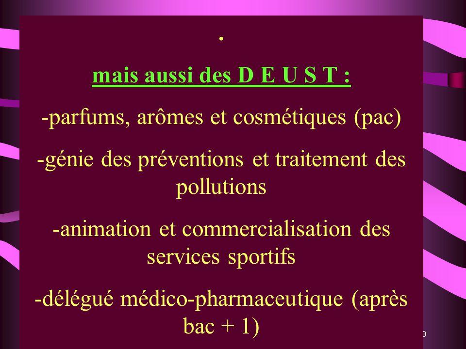 30. mais aussi des D E U S T : -parfums, arômes et cosmétiques (pac) -génie des préventions et traitement des pollutions -animation et commercialisati