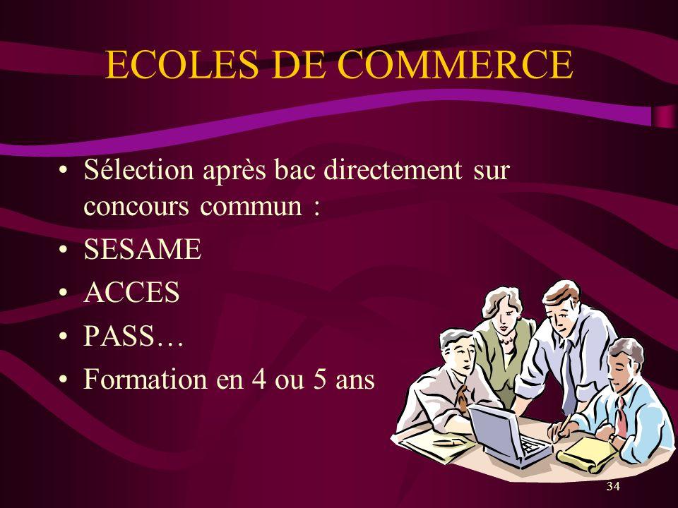 34 ECOLES DE COMMERCE Sélection après bac directement sur concours commun : SESAME ACCES PASS… Formation en 4 ou 5 ans
