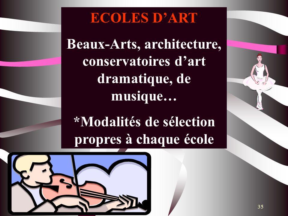35 ECOLES DART Beaux-Arts, architecture, conservatoires dart dramatique, de musique… *Modalités de sélection propres à chaque école